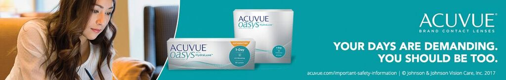 Acuvue Oasys Banner with brunette woman and text Your Days Are Demanding You Should Be Too